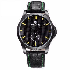 SKONE 9415EG PU Leather Band Daily Life Waterproof Analog Quartz Wrist Watch
