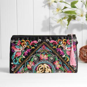Etniska broderi blommor väska Clutch Bag handväska för kvinnor