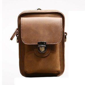 7-tums mobiltelefon midja väska män Retro PU läder midja väska Crossbody väska