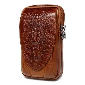 4,7 till 6 tum mobiltelefonväska äkta läder vattentät midjepaket för män
