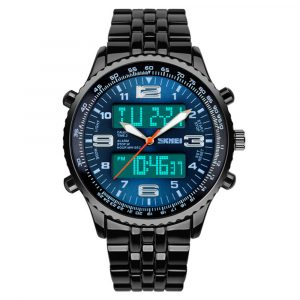 SKMEI 1032 Steel Strap Luminous Dual Display Digital Watch