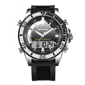 SANDA 003 Fashion Men LED Dual Display Watch Silicone Strap Swimming Diving Sport Watch