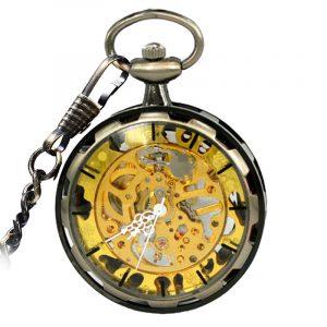 JIJIA JX006 Coverless Hollow Mechanical Pocket Watch
