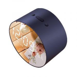 2 i 1 Väckarklocka Trådlös Bluetooth-högtalare Mini LED-spegel Subwoofer Vattentäta högtalare med mikrofon