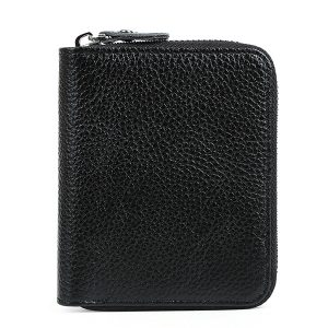 8 Card Slots Men Genuine Leather Solid Protective Short Wallet Zipper Coin Bag Card Holder