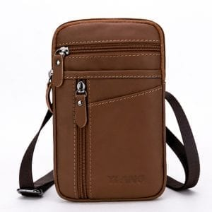 7 Inches Cell Phone Men Genuine Leather Waist Bag Cowhide Crossbody Bag