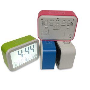 ABS LED Night Light Digital Thermometer Large LCD Display Clock Snooze Function with Calendar Desktop Alarm Clock Electronic Kids Clock Light Sensor Nightlight Office Table Clock Student Clock