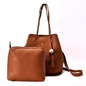 4 delar Kvinnor Litchi Mönster Pu Läder Casual Crossbody väska