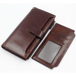 Äkta läder Vintage plånbok Long 16 korthållare Telefonväska Myntväska för män