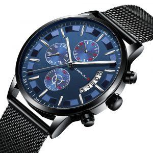 CRRJU 2261 Mesh Steel Strap Men Luminous Quartz Watch