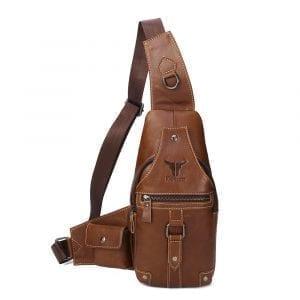 Ekphero Men äkta läder Fritid Crossbody Bag Bröstväska