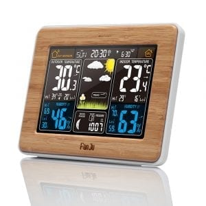 FanJu FJ3365 Wireless Weather Station Multi-function Digital Clock Temperature Humidity Despertador Moon Phase Desk Table LCD Alarm Clock
