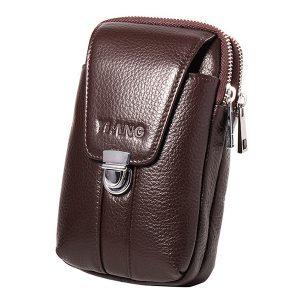 Män 4,7 / 6 tum mobiltelefon midja väska äkta läder bälte dragkedja mynt väska telefonväska