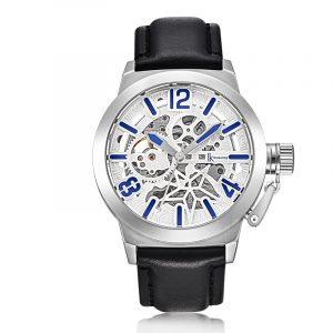 IK FÄRGNING K003 Business Style Manliga armbandsur Läderrem Mekaniska klockor