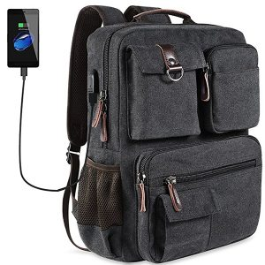 Canvas Travel Ryggsäck Casual Big Capacity herrväska med USB-port