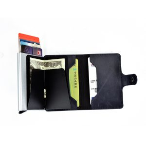 Men Faux Leather Retro Automatic Card Case Metal Card Holder