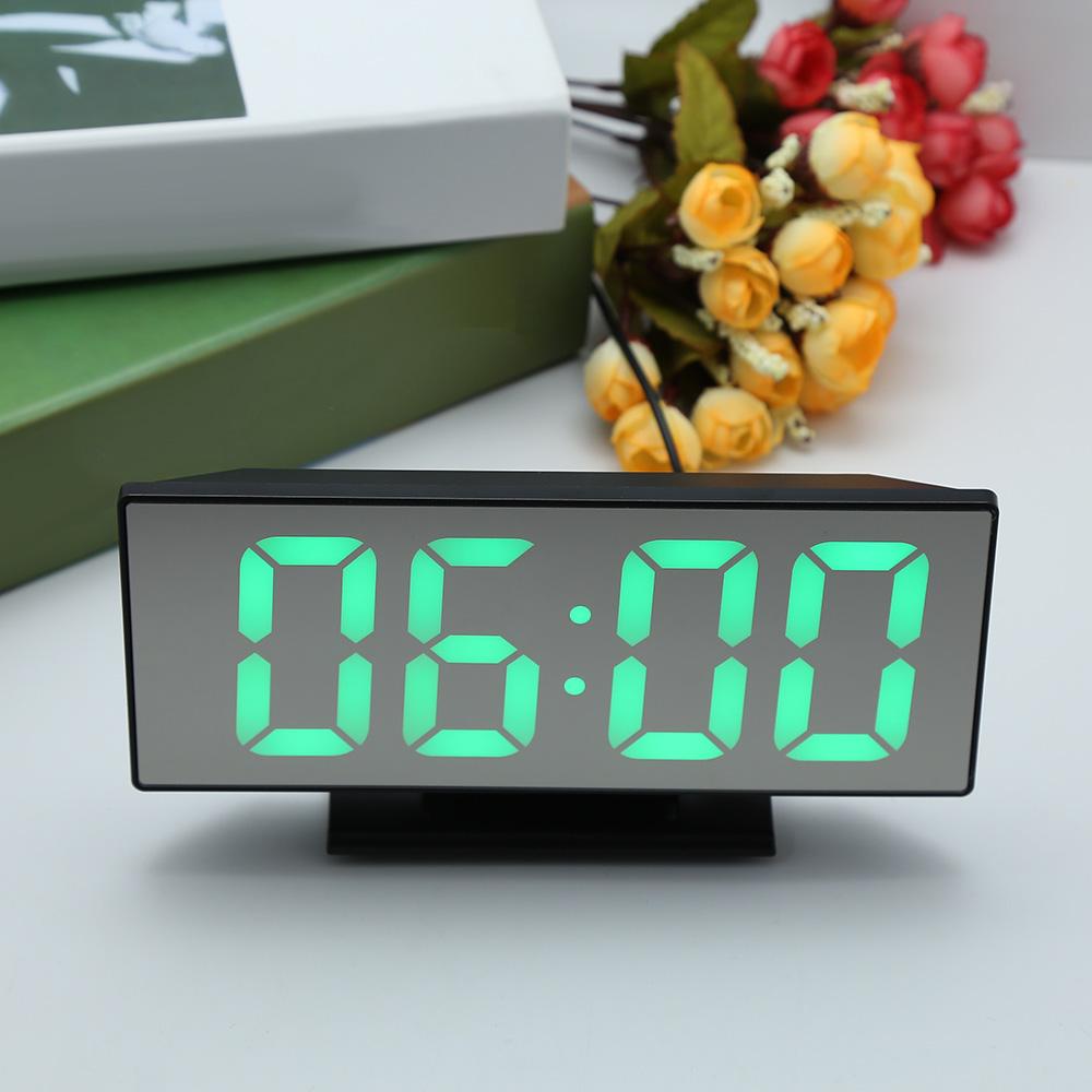 Loskii Digital Alarm Clock Mutifunction LED USB Charging Mirror Alarm Home Decor Desk Clock