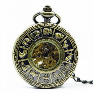 DEFFRUN Mode Zodiac Roman Numerals Mechanical Pocket Watch Creative Hänge Halsband