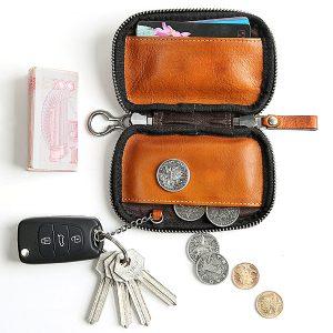 Äkta läder korthållare myntväska nyckelväska solid bil nyckel c