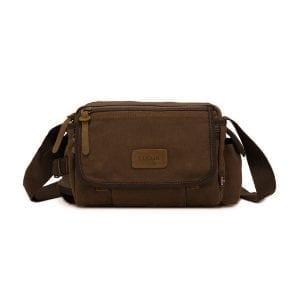 Augur Men Vintage Style Canvas Leisure Shoulder Bag Crossbody Bag Kettle Bag