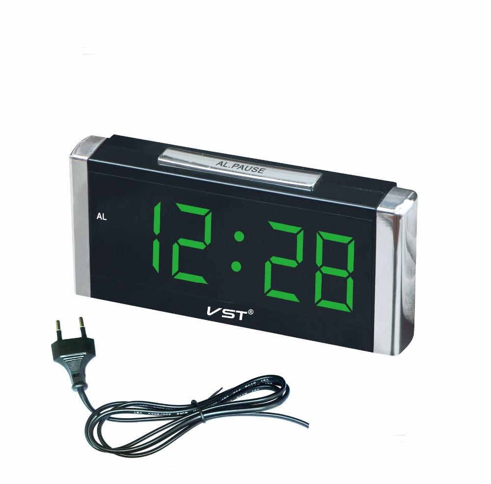 VST Rektangulär kub Digital väckarklocka med EU kontakt Stor digital LED display Skrivbordsklocka Hem Lysande bordsklocka