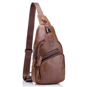 Bullcaptain Bag Herrläder Crossbody Bag med stor kapacitet