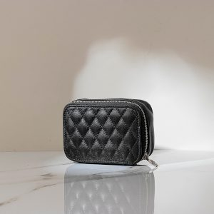 Women Plaid Minimalist Genuine Leather Mini Cosmetic Bag