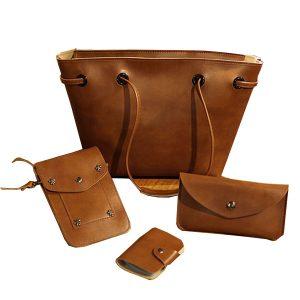 4 STK PU-läder snygg handväska Telefonväska Plånbokskortshållare