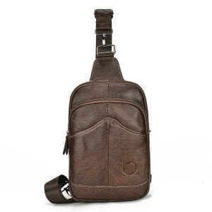 Cowhide Men's Cross Body Sling Chest Bags Large Capacity Daypack