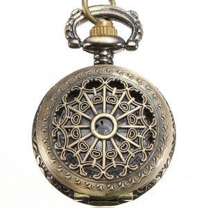 DEFFRUN Vintage Steam Punk Quartz Bronze Pocket Watch