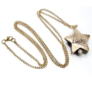 DEFFRUN Star Shape Lucky Word Retro Bronze Pocket Watch