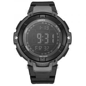 OHSEN 1709 Digital Watches 50M Waterproof Rubber Strap Sport Men LED Watch