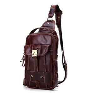 Ekphero® Men Genuine Leather Casual Vintage Chest Bag Small Shoulder Bags