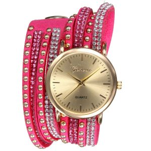 Casual klädsel Crystal Wrap Strap Analog Women's Armband Watch