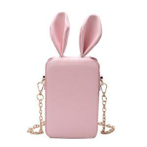 Kvinnor söt tecknad kanin öronkedja telefonväska fyrkantig väska