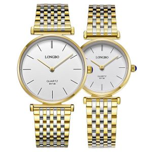 LONGBO 8973 Mode män kvinnor kvartsur Casual rostfritt stål band par klocka