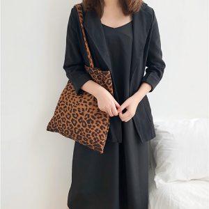 Leopard Canvas Bag Designer Handbag Shoulder Bag For Women