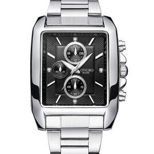 LONGBO 80006 herrklocka stålrem bandet legering lysande mode avslappnad kvarts armbandsur