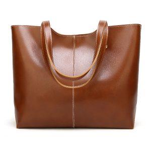 Women Simple Retro Pu Leather Tote Bag Handbag