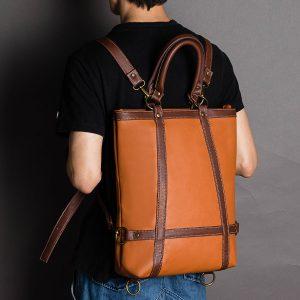 Män Kvinnor Stora kapacitet Faux Läder Business Bag Ryggsäck
