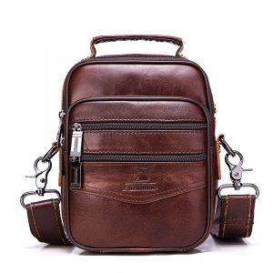 Herr-axelväskor i äkta läder Vintage Style Bag
