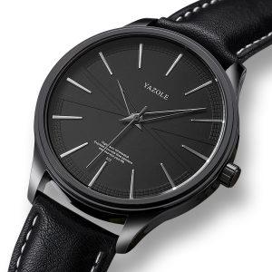 YAZOLE 512 Business Style Leather Strap Men Quartz Watch