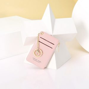Kvinnor i fuskläder korthållare liten myntväska handväska nyckelring