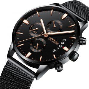 CRRJU 2222 Business Mesh Belt Men Luminous Quartz Watch
