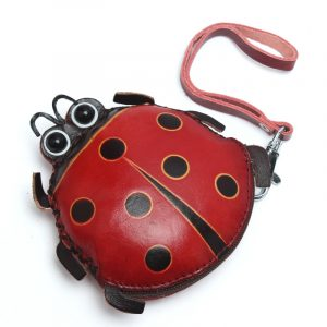 Women Genuine Leather Ladybug Pattem Mini Coins Bag