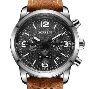 OCHSTIN 6047G Fashion Men Quartz Watch Luxury Luminous Pointers Leather Straps Sport Watch