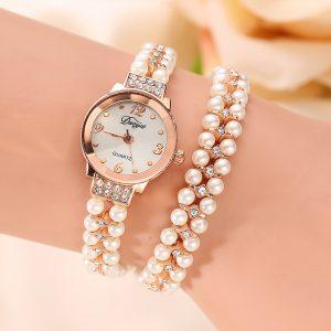 DUOYA Pearl Pearl Armband Crystal Case Quartz Watch