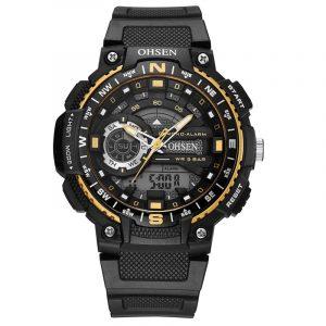 OHSEN AD1705 Digital Watch Dual Display Multifunction LED Sport Simning Herrklocka