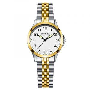 LONGBO 80499 Luxury Stainless Steel Couple Quartz Watch
