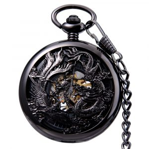 JIJIA JX024 Dragon And Phoenix Mechanical Pocket Watch